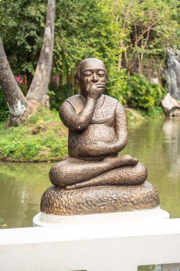 Gag statue for to Know how to control what you should say or should not say. In Thailand royalty free stock photography