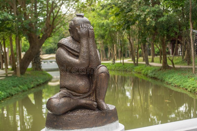 Gag statue for to Know how to control what you should say or should not say. In Thailand stock photography