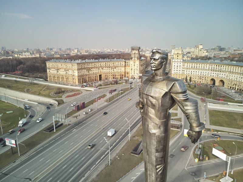 Gagarin fyrkant Monument till den f?rsta kosmonautet Yuri Gagarin royaltyfri bild