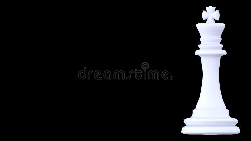 Gage blanc d'échecs de roi à l'arrière-plan noir - rendu 3d illustration libre de droits