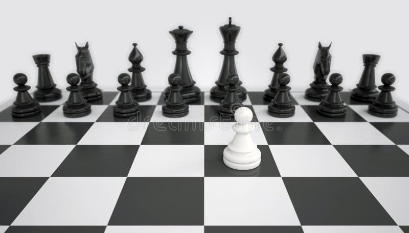 Gage blanc devant l'armée des pièces d'échecs noires photo libre de droits