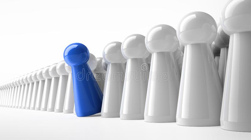 Gage bleu dans une rangée des figures blanches illustration stock