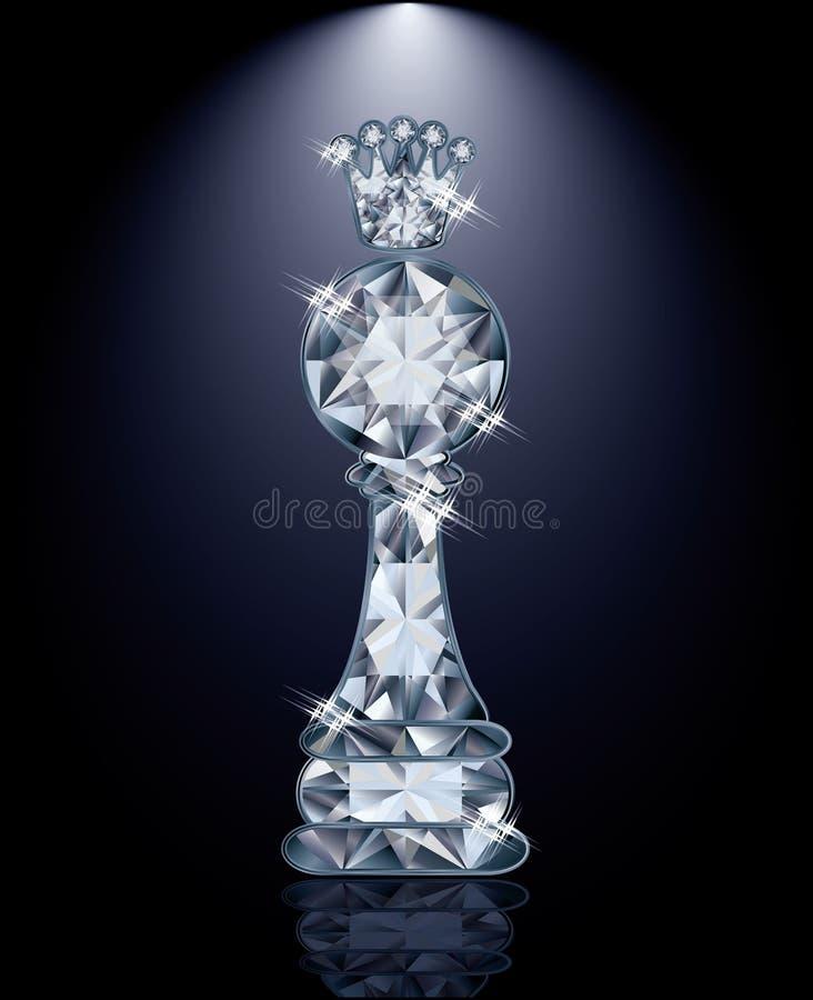 Gage d'échecs de diamant avec la couronne illustration stock