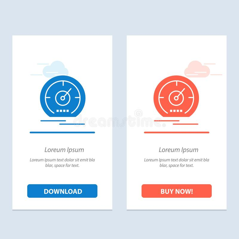 Gage, Dashboard, Meter, Speed, Speedome Blue and Red Download и Buy Now Web Widget Card Template иллюстрация вектора