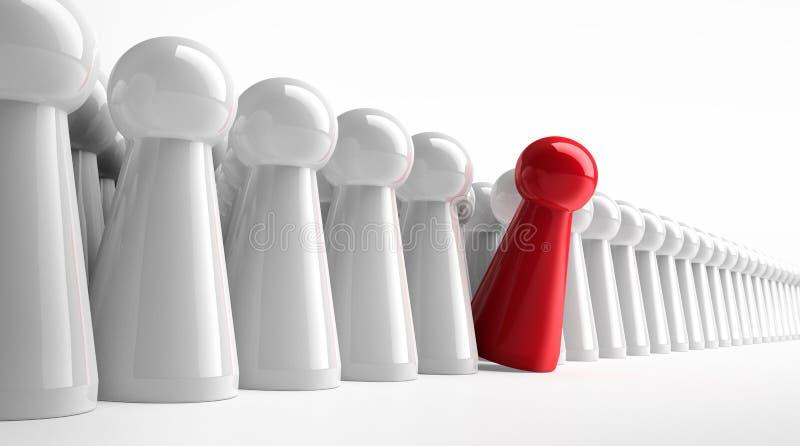 Gage rouge dans une rangée des figures blanches illustration libre de droits