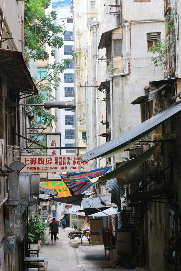 Gage Street central, Hong Kong royaltyfri bild