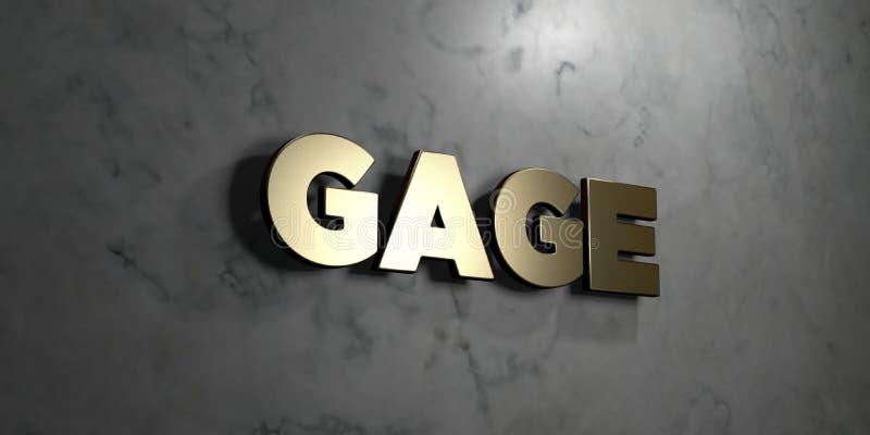 Gage - złoto znak wspinający się na glansowanej marmur ścianie - 3D odpłacająca się królewskości bezpłatna akcyjna ilustracja royalty ilustracja
