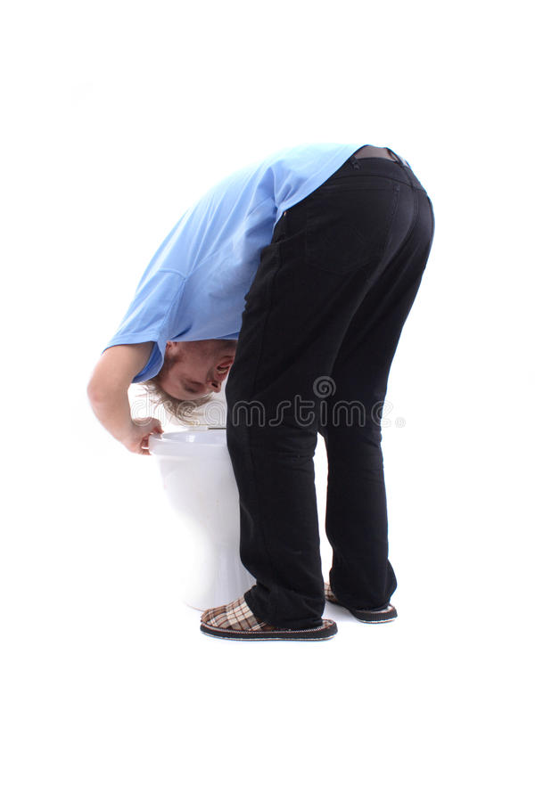 Gagging at toilet. Gagging man at toilet isolated on the white background royalty free stock images