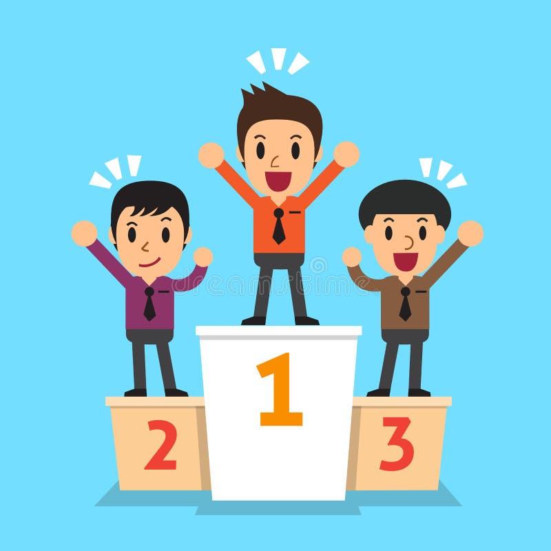Gagnant d'hommes d'affaires se tenant sur un podium illustration de vecteur