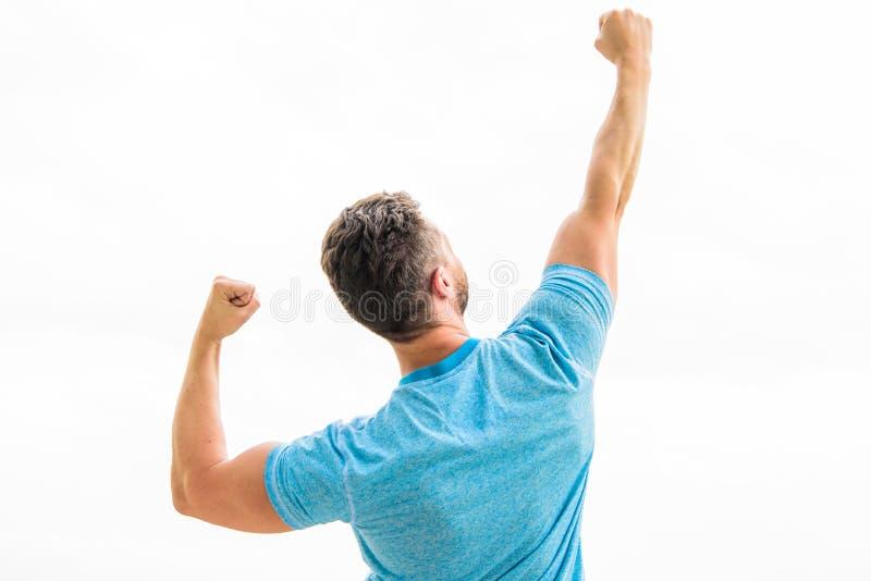 Gagnant de champion Futur concept Vue arri?re puissante forte de sentiment de corps musculaire Athl?te r?ussi Victoire et photos libres de droits