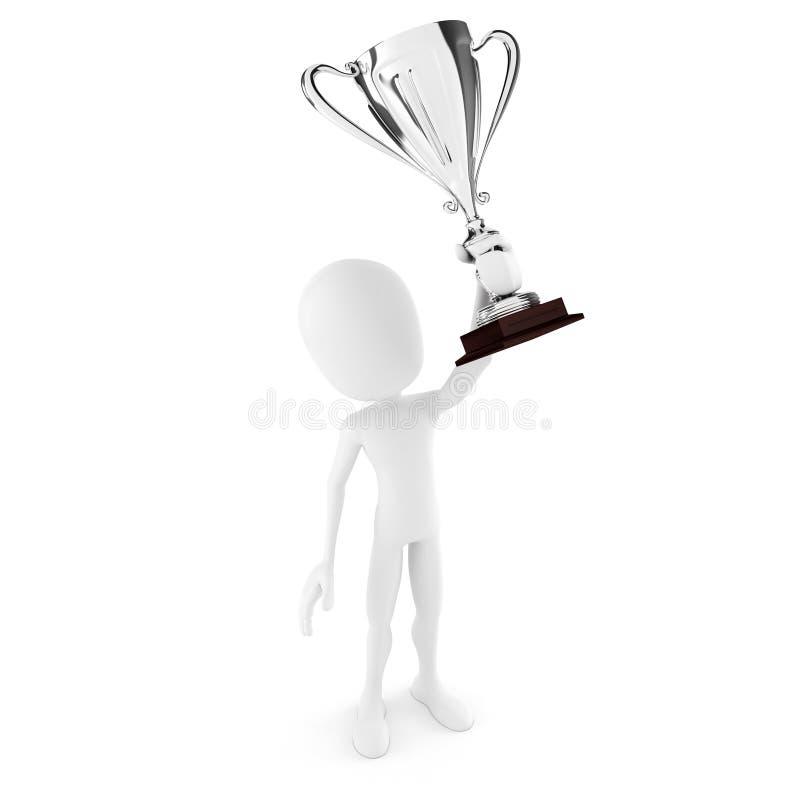 gagnant de l'homme 3d retenant un grand trophée illustration de vecteur
