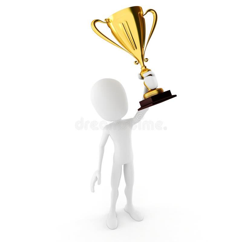 gagnant de l'homme 3d retenant un grand trophée illustration libre de droits