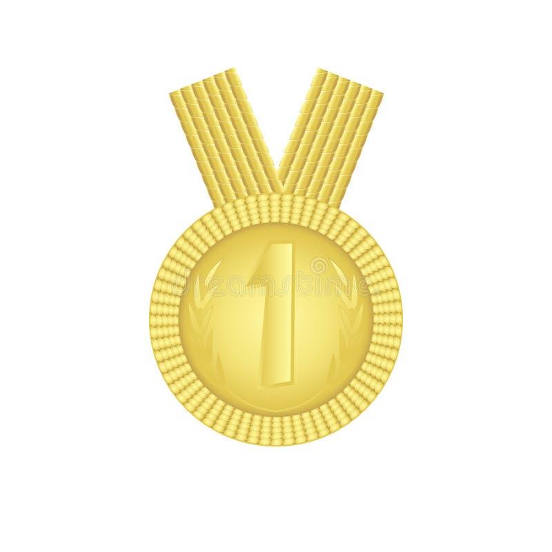 Gagnant de la médaille d'or de calibre Signe de chef de vecteur d'isolement sur le fond blanc illustration de vecteur