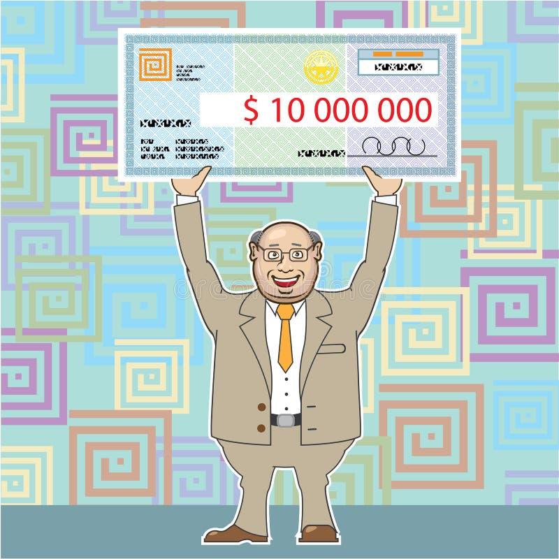 Gagnant de loterie 10m Holding un vecteur de contrôle illustration de vecteur