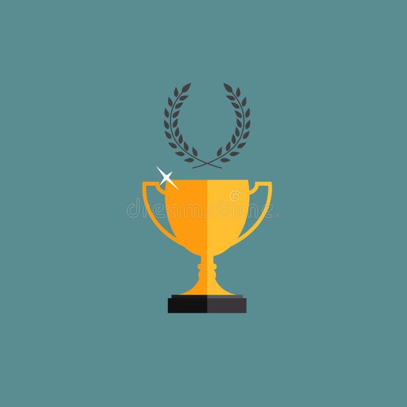 Gagnant de tasse de trophée d'or avec une guirlande de laurier illustration de vecteur