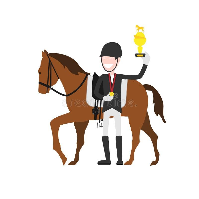 Gagnant des compétitions sportives équestres illustration libre de droits