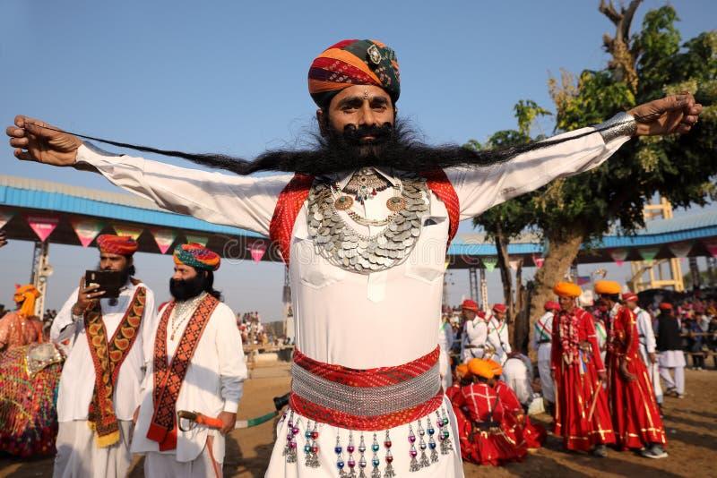 Gagnant du concours de barbe dans Pushkar, Inde photographie stock libre de droits