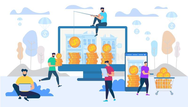 Gagnant et dépensant l'argent dans le concept d'Internet illustration de vecteur