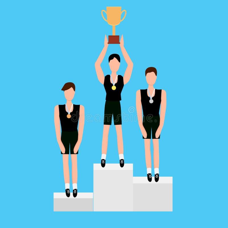 Gagnants de récompense avec les médailles et la tasse illustration stock