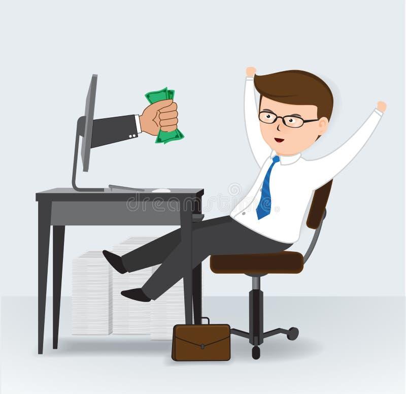 Gagnez l'argent à partir de l'ordinateur, concept d'affaires illustration stock