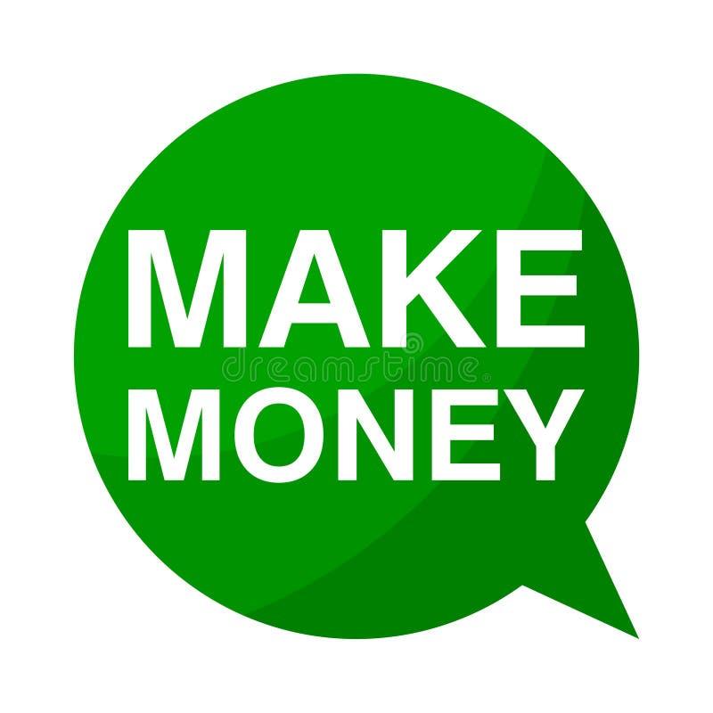 Gagnez l'argent, bulle verte de la parole illustration stock
