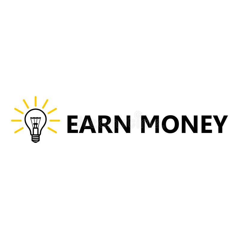 Gagnez l'icône d'argent, icône d'ampoule illustration de vecteur
