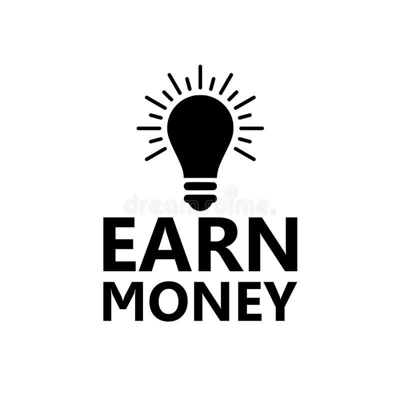 Gagnez l'icône d'argent, icône d'ampoule illustration libre de droits