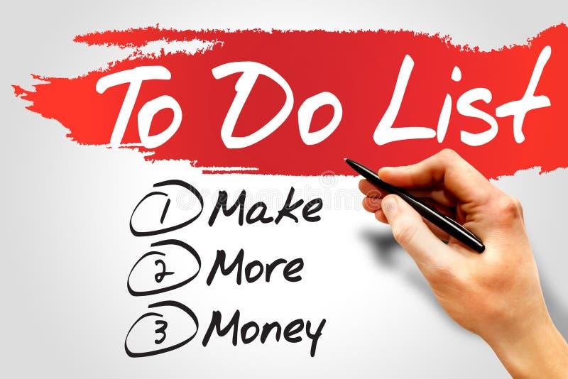 Gagnez plus d'argent dedans pour faire la liste, concept d'affaires illustration de vecteur