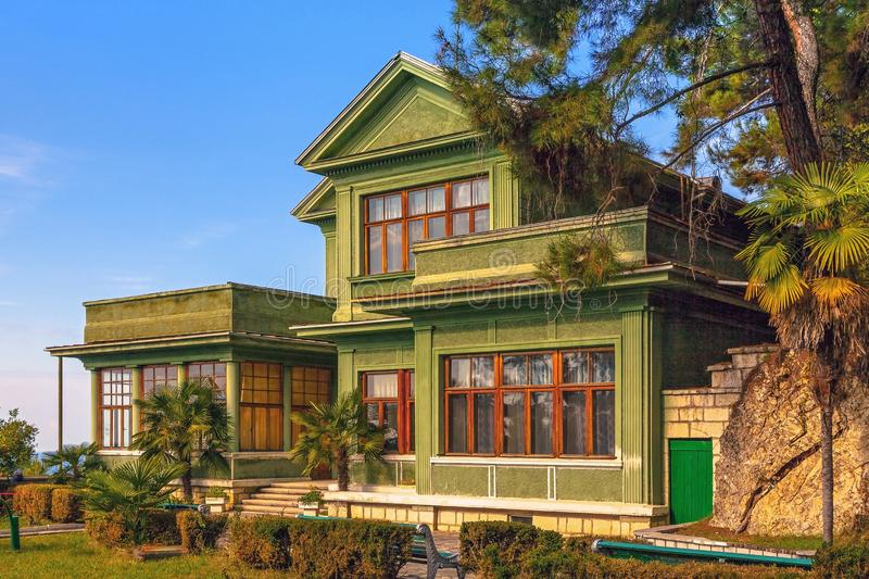 GAGRA, ABKHAZIA - OCTOBER 4, 2014: Stalin`s dacha, settlement Cold river. The dacha of the chairman of the Communist Party, J. Stalin, is located at an altitude royalty free stock photography