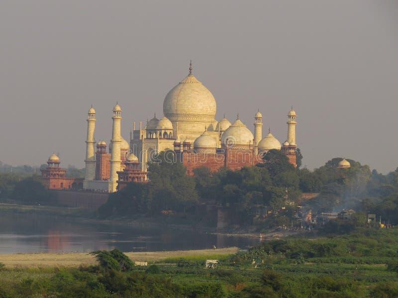 Gagra, India, 21 November, 2013 Taj Mahal is een mooi wit marmeren mausoleum Weergeven van Fort royalty-vrije stock foto