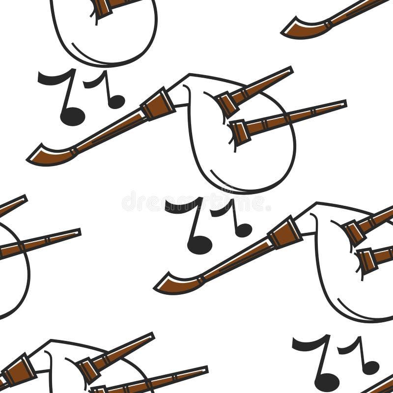 Gaida Bułgarskiego instrumentu muzycznego bezszwowa deseniowa kobza royalty ilustracja