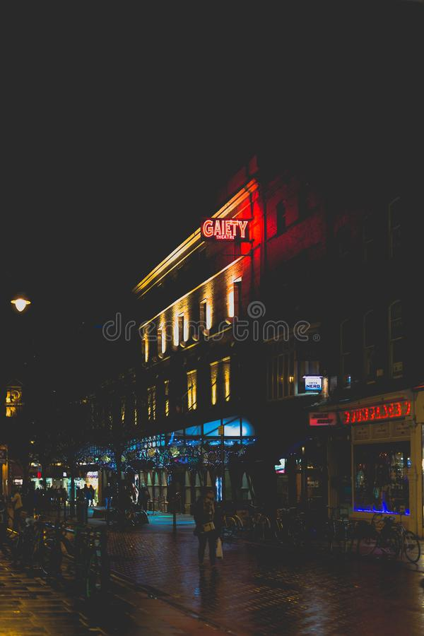The Gaiety Theatre in King Street in Dublin city centre by night. DUBLIN, IRELAND - February 10th, 2018: the Gaiety Theatre in King Street in Dublin city centre stock photography