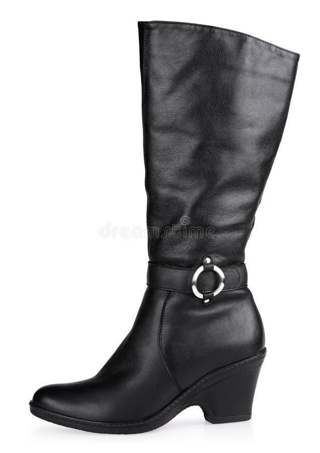 Gaine en cuir à la mode femelle noire photo stock