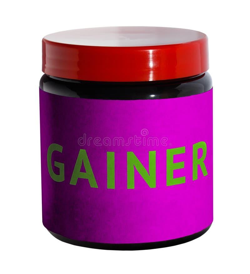 gainer Container met sportvoeding stock foto's