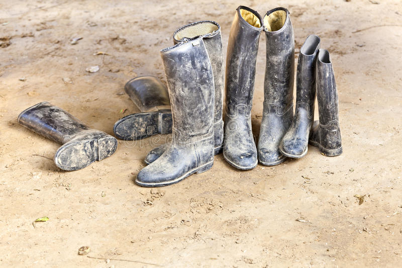 Gaines d'équitation modifiées restant à la prise de masse boueuse photographie stock libre de droits