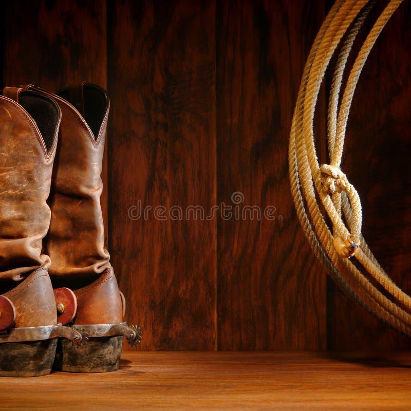 Gaines de cowboy de rodéo et lasso occidentaux américains de lasso image stock