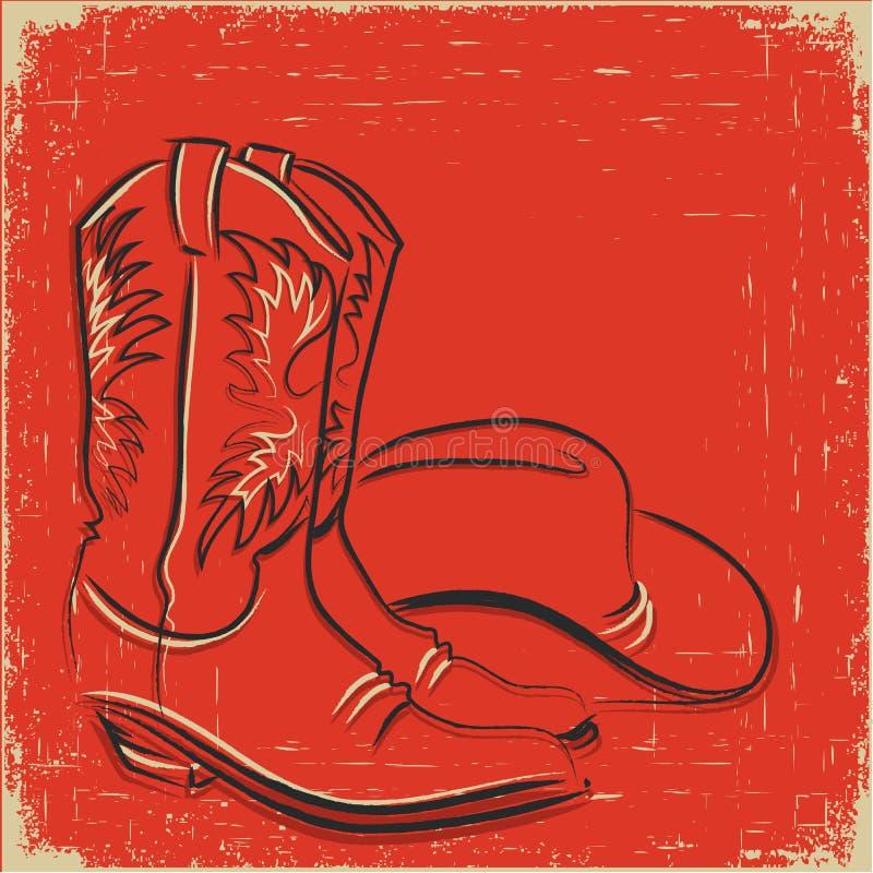 Gaines de cowboy et chapeau occidental. Illustration de croquis   illustration libre de droits