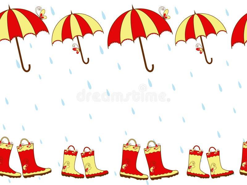 Gaines et parapluie de pluie mignonnes d'illustration sans joint illustration libre de droits