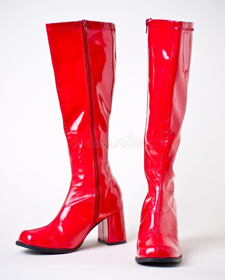 Gaines rouges de disco de vinyle de longueur de genou image stock