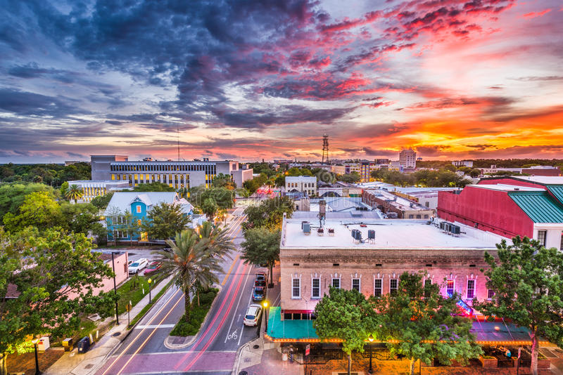 Gainesville, Florida, orizzonte di U.S.A. fotografie stock libere da diritti