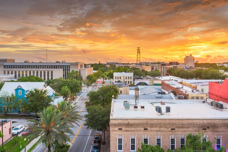 Gainesville, Florida, USA downtown cityscape. At dusk stock image