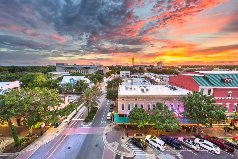Gainesville, Florida, USA downtown cityscape. At dusk stock photo