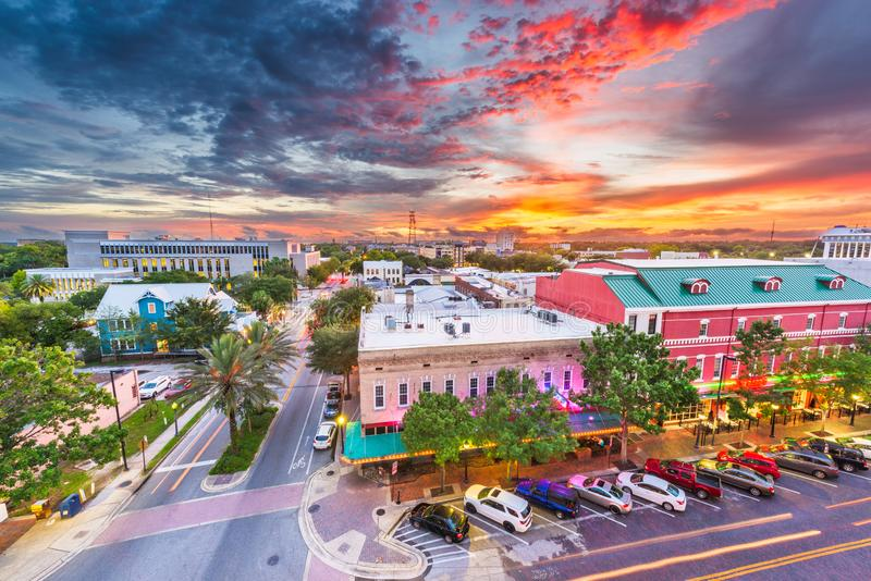 Gainesville, Florida, USA downtown cityscape. At dusk stock photography