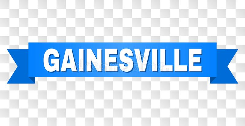 Blue Stripe with GAINESVILLE Caption. GAINESVILLE text on a ribbon. Designed with white caption and blue tape. Vector banner with GAINESVILLE tag on a royalty free illustration