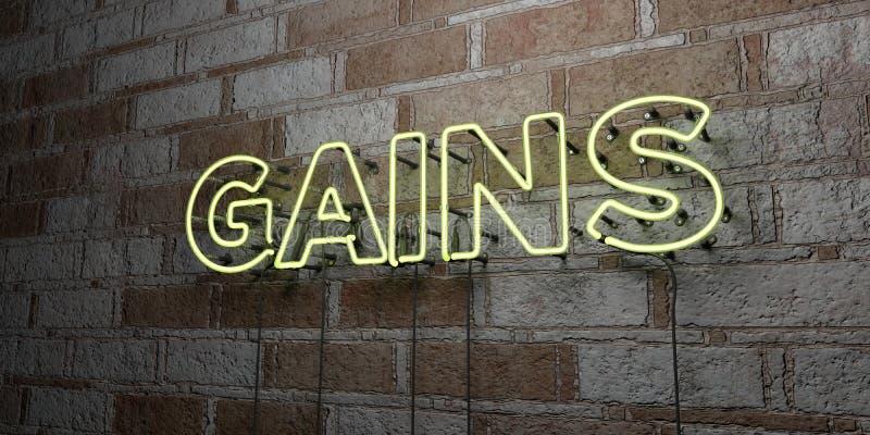 GAINS - Enseigne au néon rougeoyant sur le mur de maçonnerie - 3D a rendu l'illustration courante gratuite de redevance illustration libre de droits