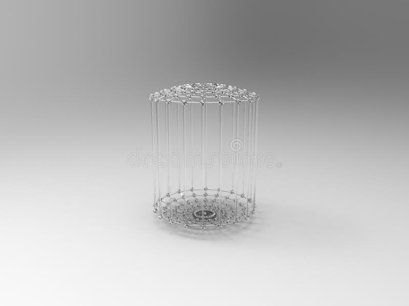 Gaiola abstrata do vidro 3d ilustração stock