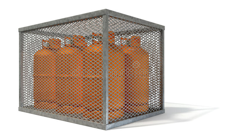 Gaiola de aço com garrafas de gás fotografia de stock