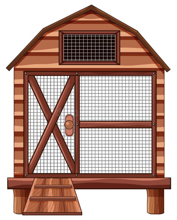 Gaiola de madeira no fundo branco ilustração do vetor