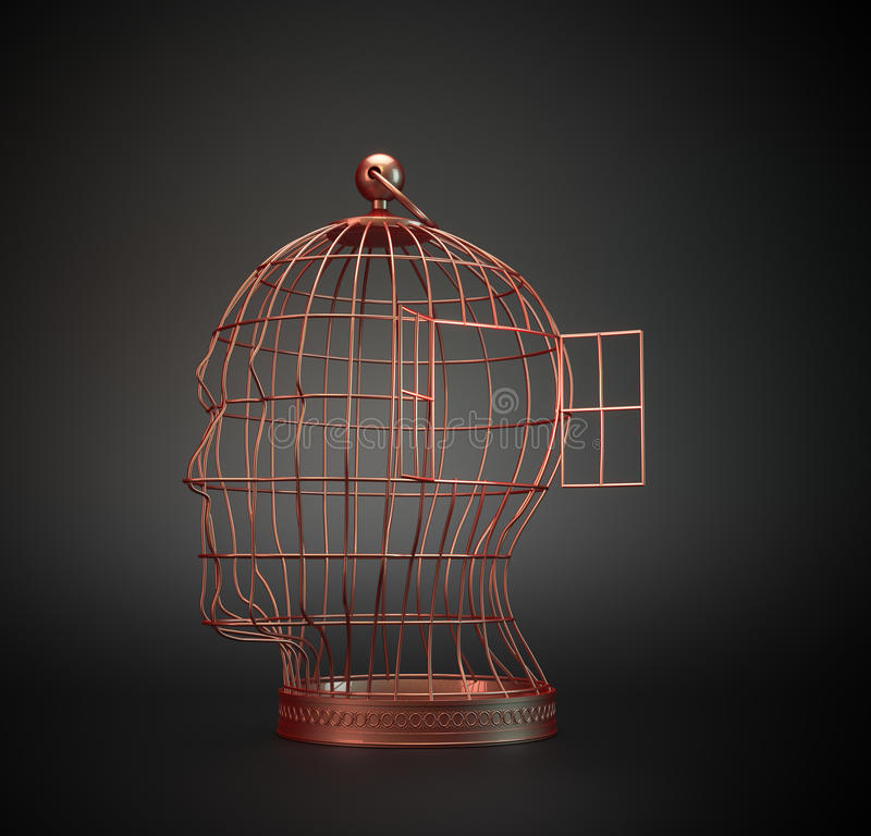 Gaiola de pássaro da cabeça humana foto de stock royalty free