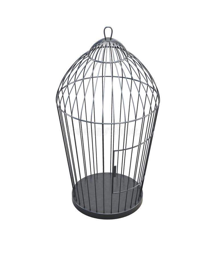 Gaiola de pássaro do metal no fundo branco rendição 3d ilustração stock